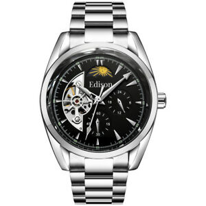 Men's Automatic Edison Watch with Moon face black dial stainless steel strap