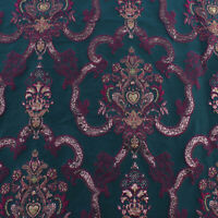 Dark Green Court Brocade Fabric Jacquard Metal Garments Thick fabric By Yard