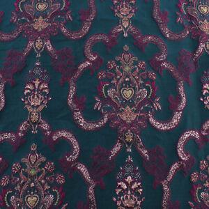 Dark Green Court Brocade Fabric Jacquard textile Garments Thick fabric By Yard