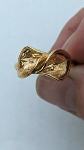 Calla Lily Ring Solid 14K Yellow Gold Flower Leaf Open Wrap Ladies Size 8