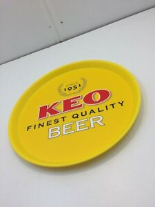 Keo Beer Advertising Round Yellow Plastic Serving Tray