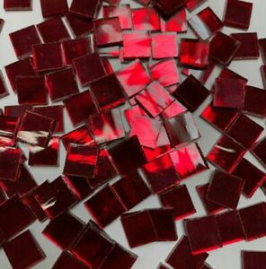 """1/2"""" RED - SILVERCOAT MIRROR Stained Glass Mosaic Tiles (100 PIECES)"""