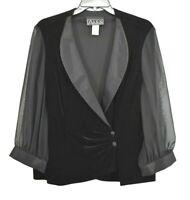 Alex Evenings Womens Black Semi Sheer Long Sleeve Button Front Dress Jacket XL