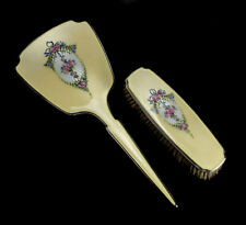 2pc Thomae Co. Sterling Silver Guilloche Enamel Mirror and Clothing Brush c1930