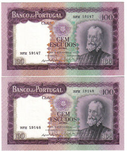PORTUGAL 2 X 100 ESCUDOS 1961 RUNNING NUMBERS UNC-
