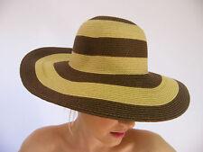 NEUF été soleil casquette marron rayé à motif UPF 50