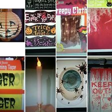 8 items Halloween Party Joblot /Lights/Warning/Table Cloth/Candle/Keep Out/Props