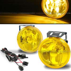 """For K1500 4"""" Round Yellows Bumper Driving Fog Light Lamp + Switch & Harness"""