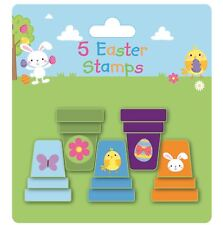5 Plastic Easter Stampers Stamps Stocking Party Loot Bag Fillers Egg Bunny Chick