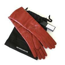 ANN DEMEULEMEESTER long joris red leather cashmere lined gauntlet gloves 7 NEW