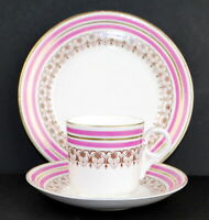 Tea Cup Saucer and Cake Plate Antique Set Pink Brown White Sweet Fine china Set