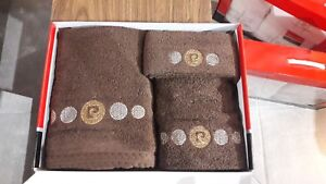 Pierre Cardin Luxury Designer 3 pcs Towel Bathroom Set Chocolate Brown