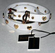 Juicy Couture JC Heart Studded White Leather Double Wrap Bracelet **