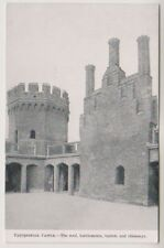 Lincolnshire postcard - Tattershall Castle, Roof, Battlements, Turrets & Chimney