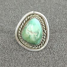 Vintage Navajo Sterling Silver & Natural Green Turquoise Ring Size 8