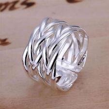 eleganter Ring 925 Sterling Silber plattiert  kreuz geflochten größenverstellbar