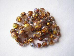 Vintage Deco Venetian Fiery Foil Opalescent Glass Beads Necklace