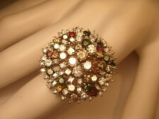 Magnificent 18K White Gold Fancy Color Diamond Designer Cascade Ring