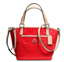Coach F25190 Sig Embossed Patent Small Pocket Tote Crossbody Vermillion Tan NWT