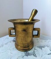 Antique Vtg Large Solid Brass Apothecary Mortar & Pestle Heavy