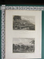 1829 DATED ANTIQUE YORKSHIRE PRINT ~ VIEWS OF WILTON CASTLE SEAT OF LOWTHER