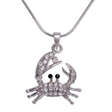"""Crab Charm Pendant Fashionable Necklace - Sparkling Crystal - 18"""" Chain"""