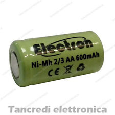 2/3AA 1,2V 600mAh batteria Ni-Mh NiMh ricaricabile pila rechargeable battery