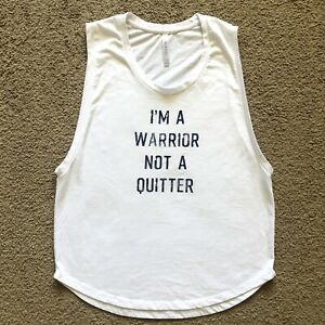 Fabletics Janis Im A Warrior Not A Quitter Graphic White Blue Muscle Tank Top XS