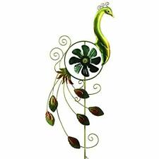 "Comfy Hour 31"" Height Green Metal Art Spinner Peacock Garden Stake Outdoor"