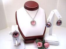 "Brighton ""TRINITY AURA"" Pink Necklace-Earring-Bracelet Set (MSR$196) NWT/Pouch"