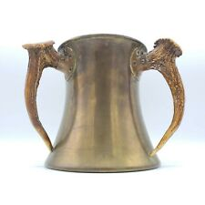 """Antique Bailey, Banks & Biddle Copper Loving Cup w/ Stag Handles ~ 7"""" Tall"""