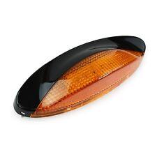 RV CAMPER TRAILER 12 VOLT 18 LED Porch Light oval Amber WITH Black exterior