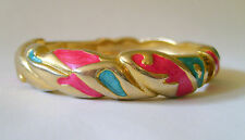 ROUND ENAMEL BANGLE WITH SPRING CLASP OPENING - TURQUOISE/PINK/GOLD IN GIFT BOX