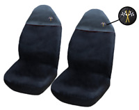 2 Black Front Car Seat Covers UNIVERSAL Protectors PAIR Fits BMW 1 SERIES