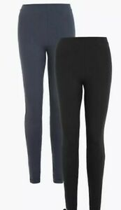 M&S COLLECTION 2 Pack High Waisted Leggings UK SIZE 14 SHORT EUR 42