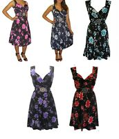Made In UK Plus Size 8-26 Ladies Womans Summer Holiday Evening Dress Floral