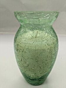Vintage Blenko Crinkle Glass Candle Holder Vase with Candle