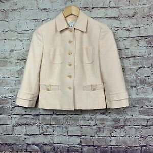 Ann Taylor Loft Pink Tweed Button Front Lined Career Blazer Size 4 Petite