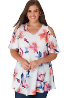 White Multi Floral Print Slinky Cold Shoulder Plus Top Size 16-22