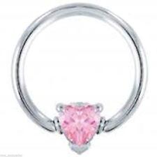 """Captive Nipple Ear Ring 14 Gauge 1/2"""" w/Heart Pink 6mm Gem Ball Steel Body Jewel"""