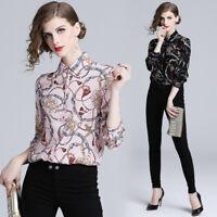 2019 Spring Summer Fall Floral Print Collar OL Long Sleeve Womens Shirt Blouses