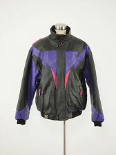 1990s CKX Vintage Purple/Black Leather Snowmobile Bomber Jacket Large L