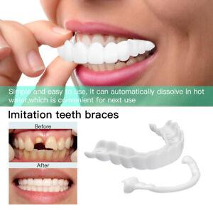 Snap On False Teeth Lower Upper Dental Veneers Dentures Fake Tooth Cover White