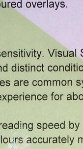 A5 246 Light Green Coloured Sheet Overlay Dyslexia Transparent Stress reading