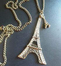 Vintage Style Antique Gold Kitsch Eiffel Tower Pendant Necklace