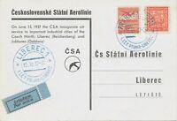 """TSCHECHOSLOWAKEI 1937 Kab.-Erstflug der CSA """"PRAG - REICHENBERG (PRAHA-LIBEREC)"""
