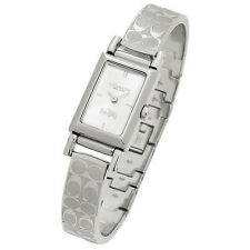 NWT Coach Signature Etched Silver Stainless Steel Bangle Bracelet Watch 14502121