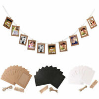 10Pc 6Inch DIY Wall Picture Paper Photo Hanging Frame Album Rope Clip Decoration