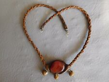 COLLIER PERLE CUIR MARRON PIERRE NATURELLE AGATE ORANGE LEATHER STONE NECKLACE
