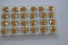 18 Swarovski 39ss Crystal Gold Shine In Sew On Settings #1028 -K452